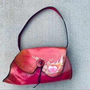 Wabags Hand Painted Heart Flame Leather Bag